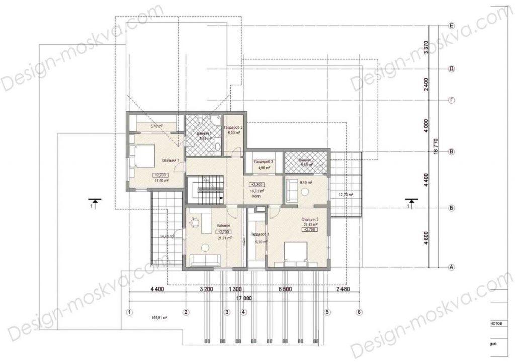 Планировка коттеджа второй этаж