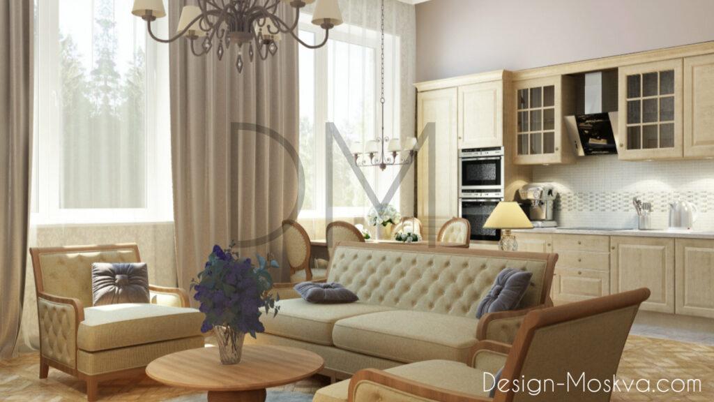 Дизайн проект квартира. Кухня-Гостиная.