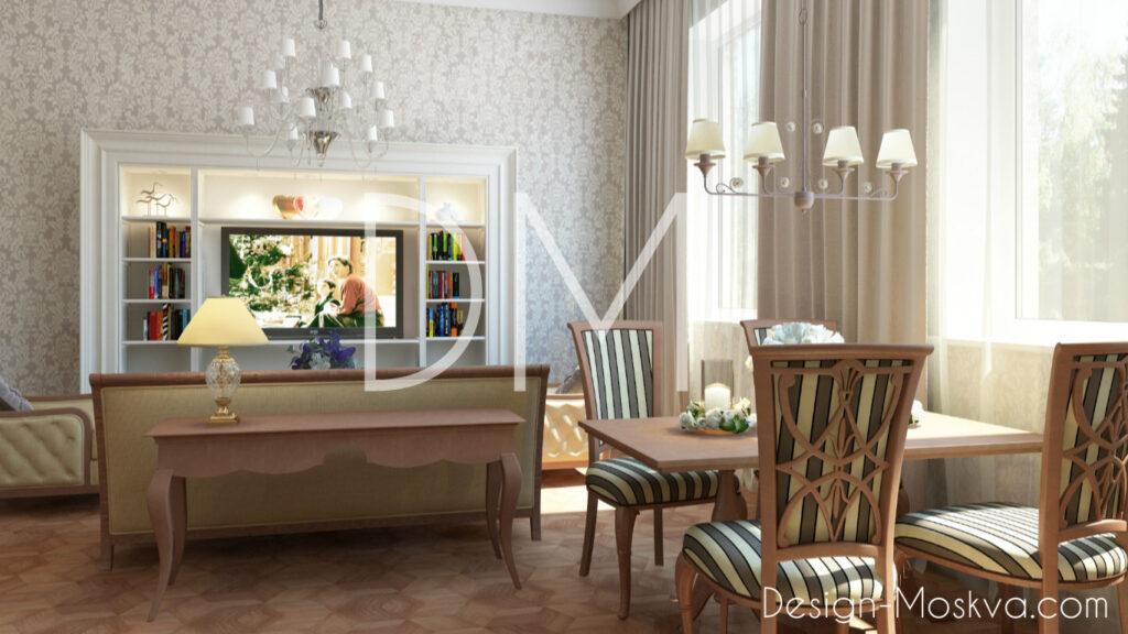 Дизайн проект квартиры. Кухня-Гостиная
