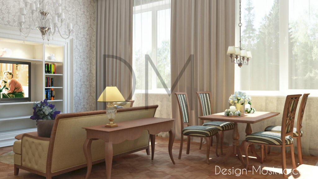 Дизайн проект квартиры. Кухня -Гостиная