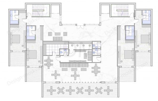 Проект гостиницы 1 этаж