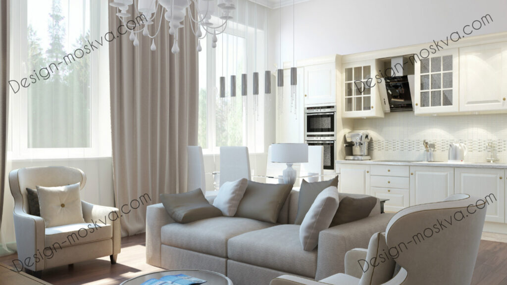 Дизайн проект квартиры. Кухня гостиная Совр 1