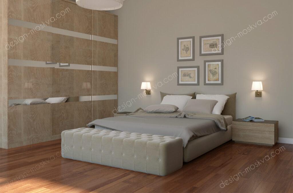 Дизайн проект загородного дома. Спальня Вид 1