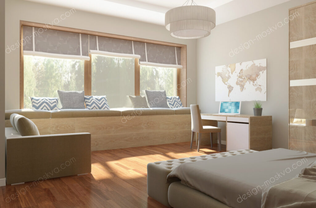 Дизайн проект загородного дома. Спальня вид 3