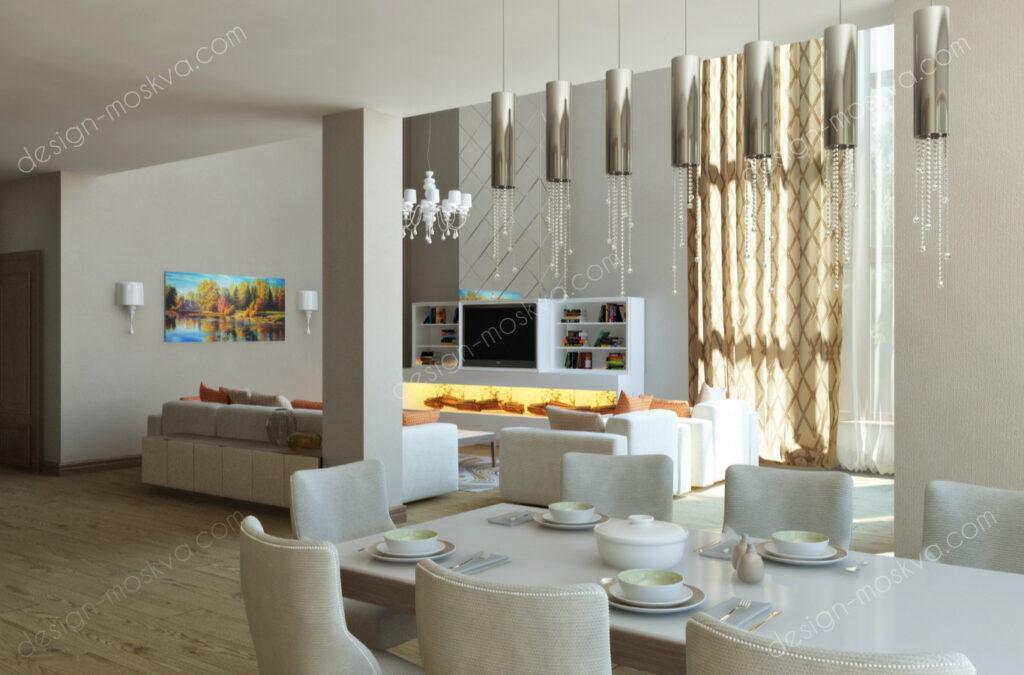 Дизайн проект загородного дома в классическом стиле . Кухня-Гостиная Вар3
