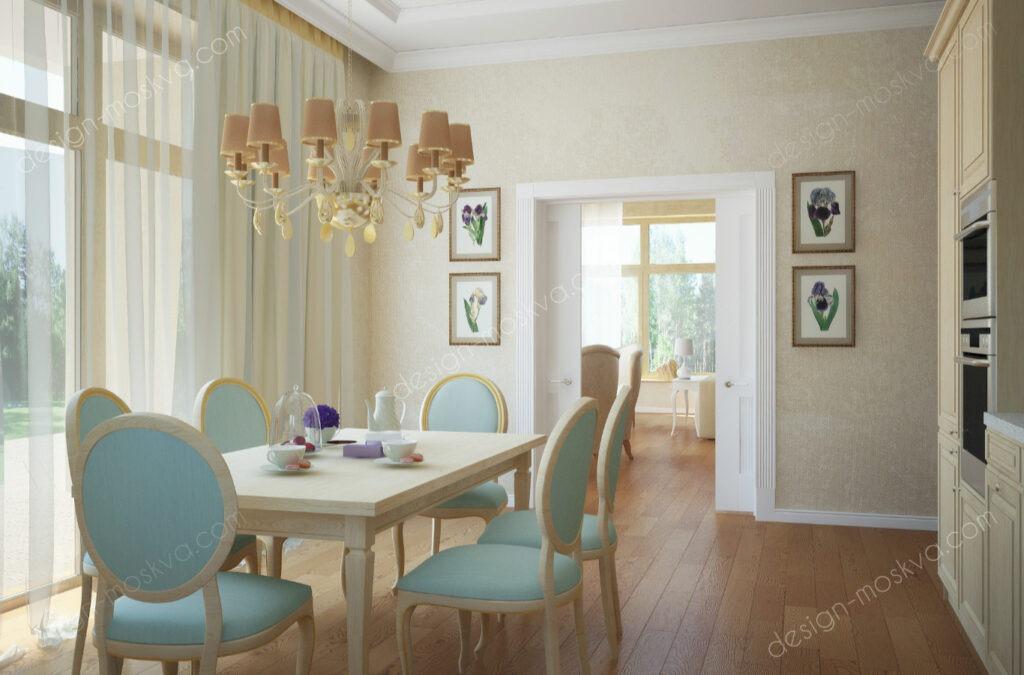 Дизайн проект Загородного дома. Кухня-Гостиная Вид3