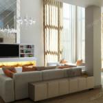Дизайн проект загородного дома в классическом стиле . Гостиная Вар1