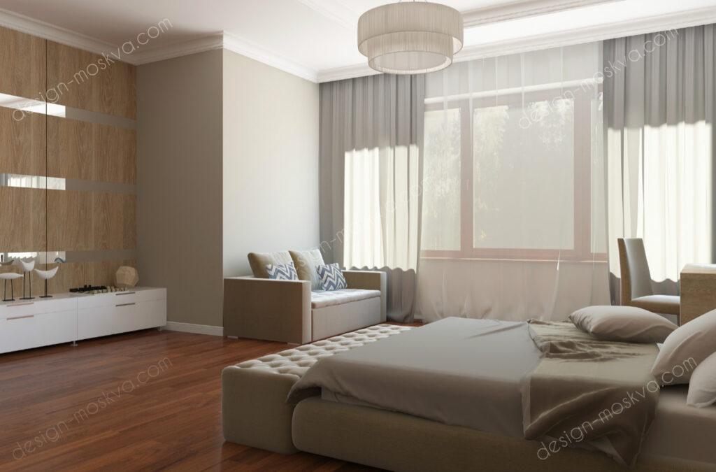 Дизайн проект квартиры. Спальня вид 10