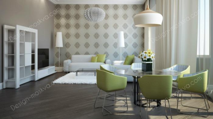 Дизайн проект квартиры. Гостиная Вариант 3.1