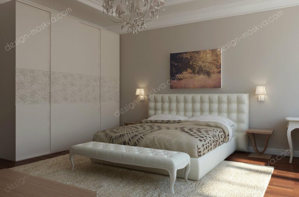 Дизайн проекта коттеджа. Спальня вид 2