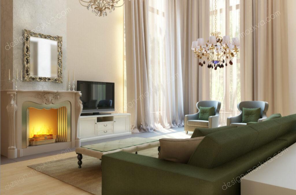 Дизайн проект загородного дома в классическом стиле. Гостиная Вар2