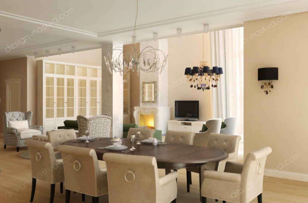 Дизайн проект загородного дома в классическом стиле . Кухня-Гостиная Вар4