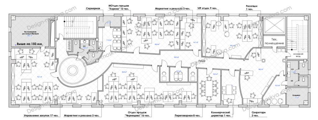 Планировочное решение офиса Open Space